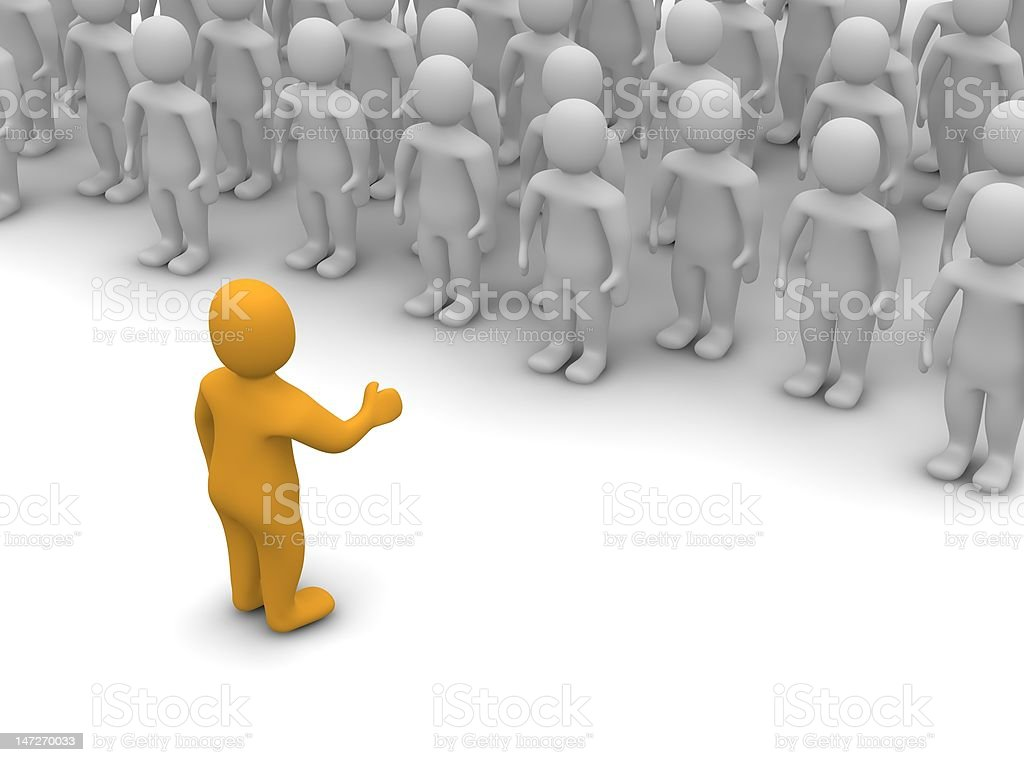 Concept of team leader speaking to his team royalty-free stock photo