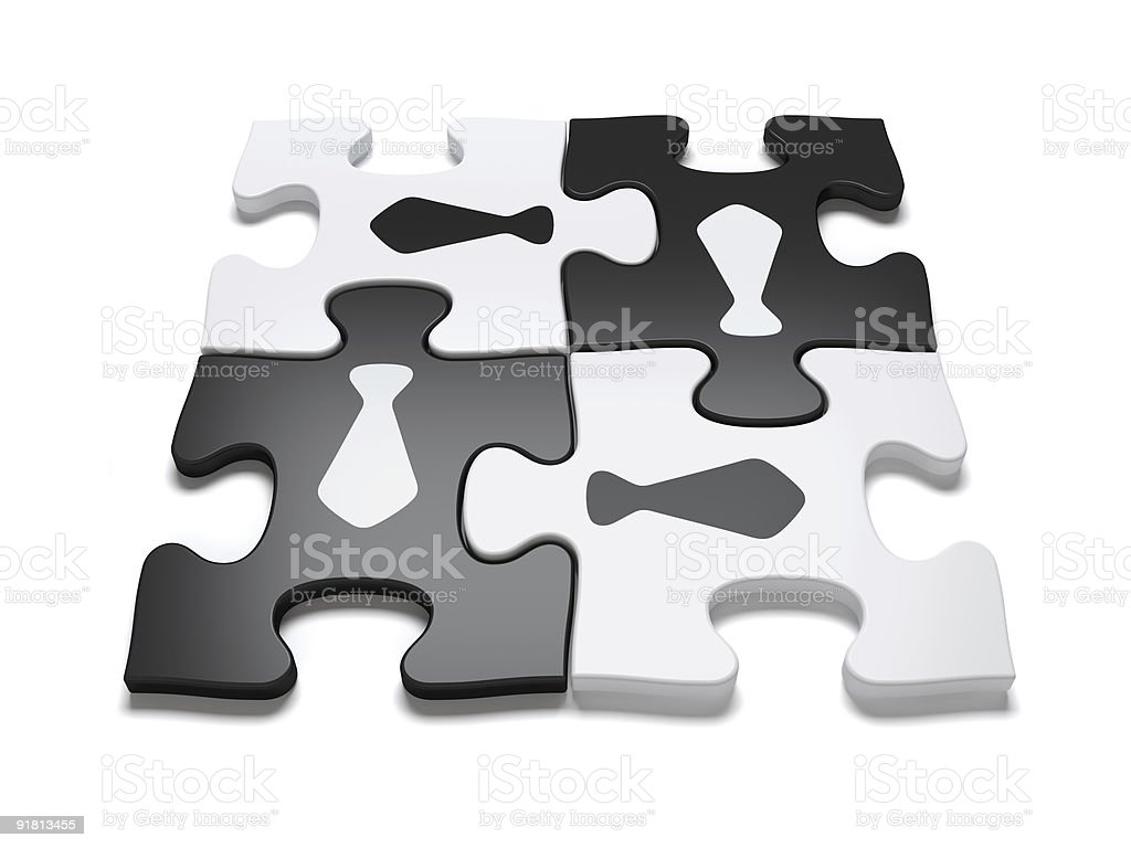 Concept of Teamwork - Jigsaw Puzzle royalty-free stock photo