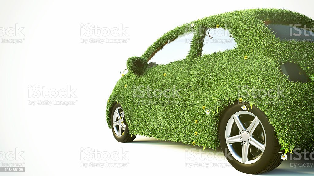 Concept of the eco-friendly car - 3d rendering stock photo