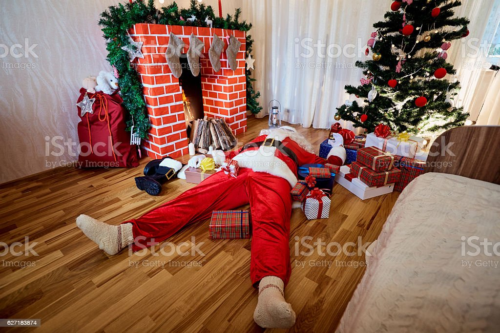 Concept of the end the Christmas, New Year. Santa Claus stock photo