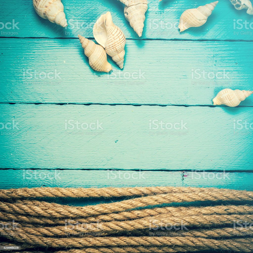 Concept of the summer time  on the wooden blue background stock photo