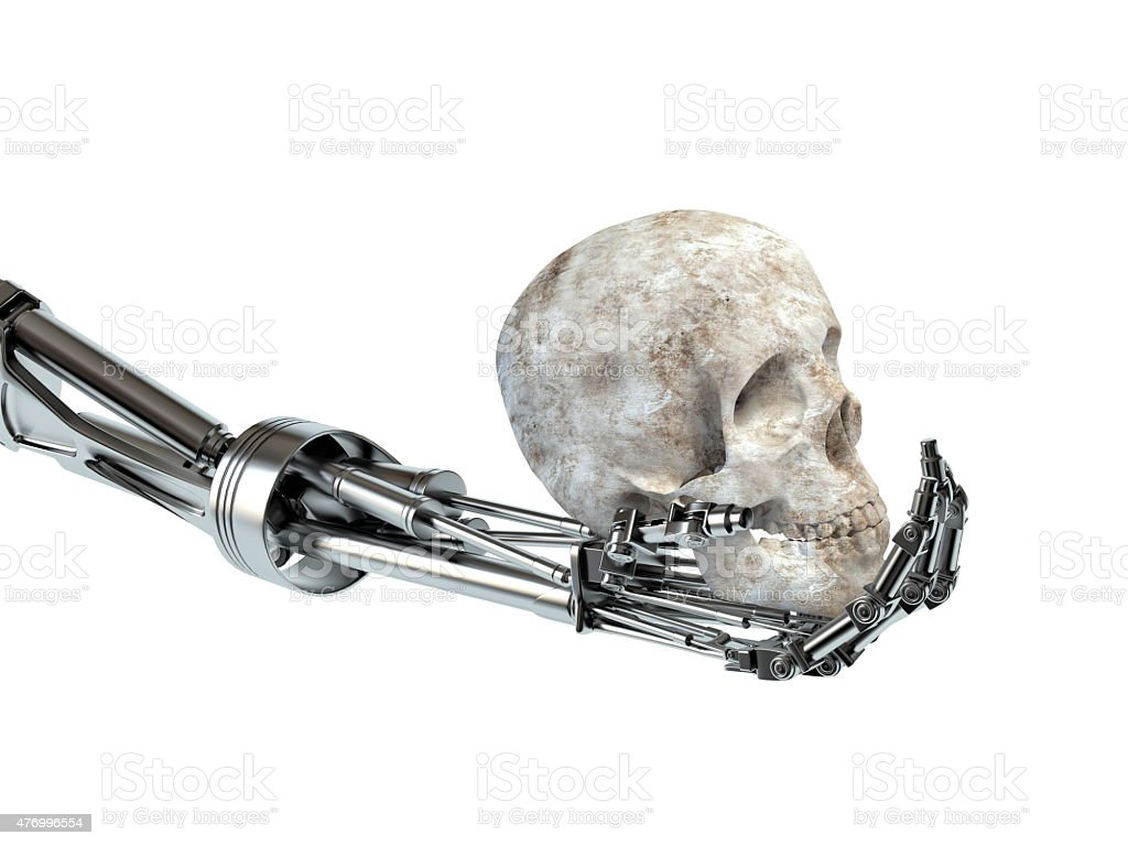 Concept of the uprising machines. Hand of the robot stock photo