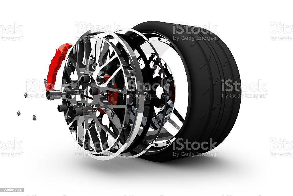 Concept of tire service. Wheels, Rims , brake pads and discs stock photo