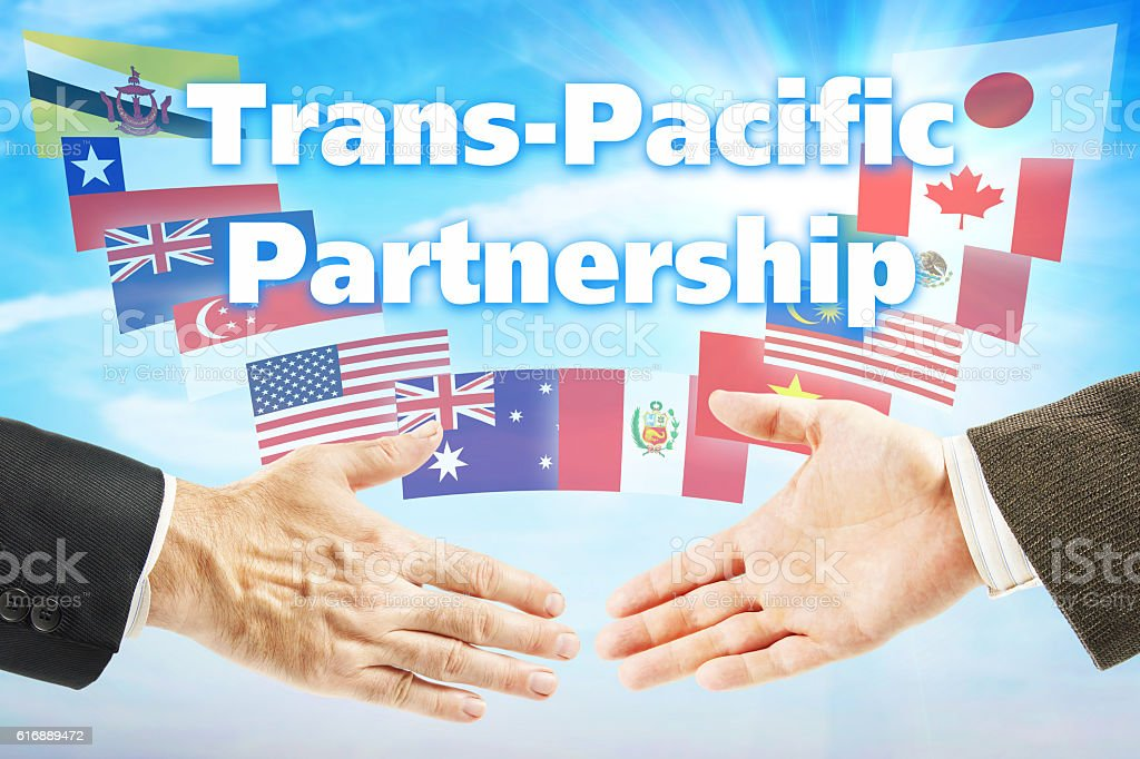 Concept of TPP. Trans Pacific Partnership trading association stock photo