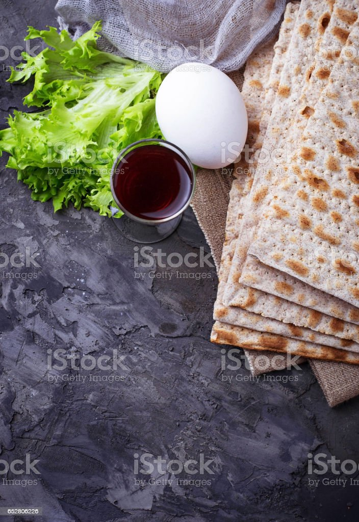 Concept of traditional Jewish celebration Passover seder stock photo