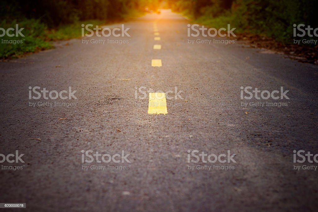 Concept of way to successful, Asphalt road with path. stock photo