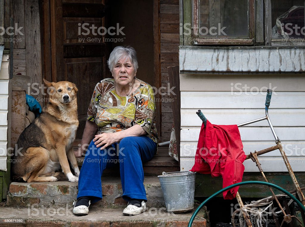 Concept - old age, poverty, loneliness in old age stock photo