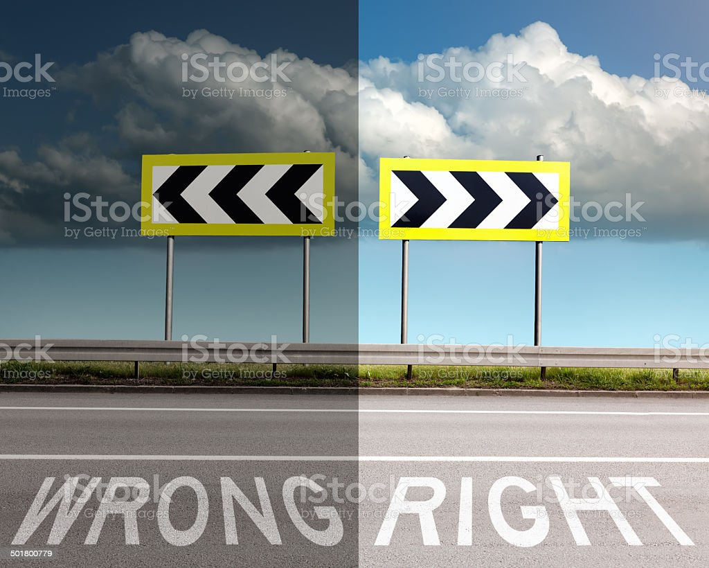 Concept on the road, wrong or right direction stock photo