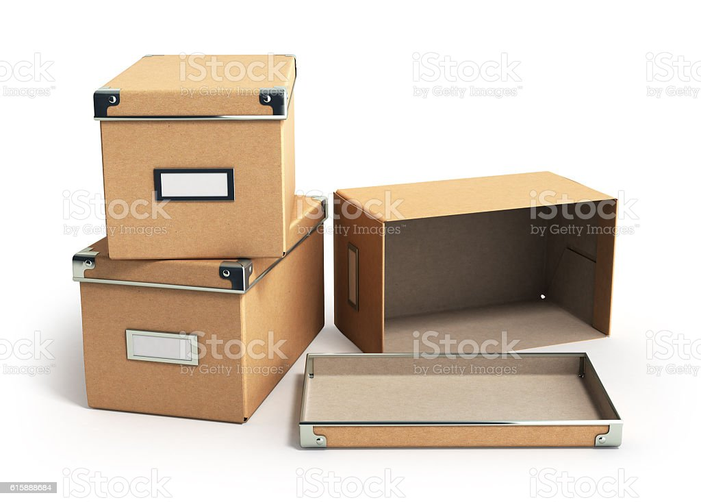 concept organization  boxes with one open empty box 3d render stock photo