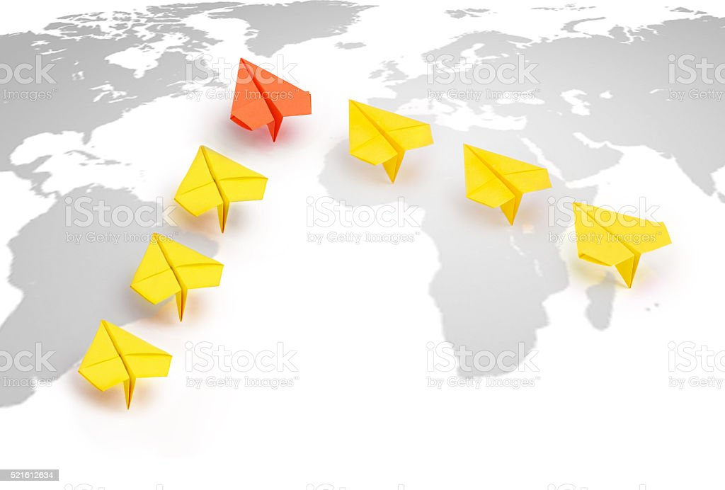 Concept paper plane leader stock photo