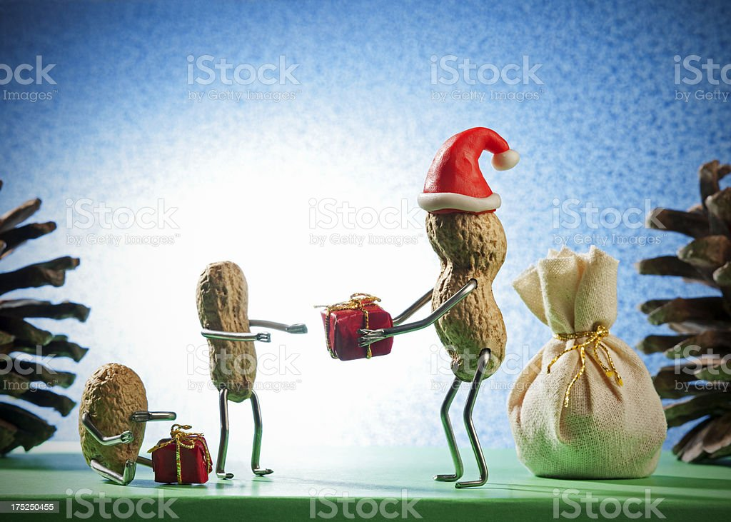 Concept Peanutman- Santa claus stock photo