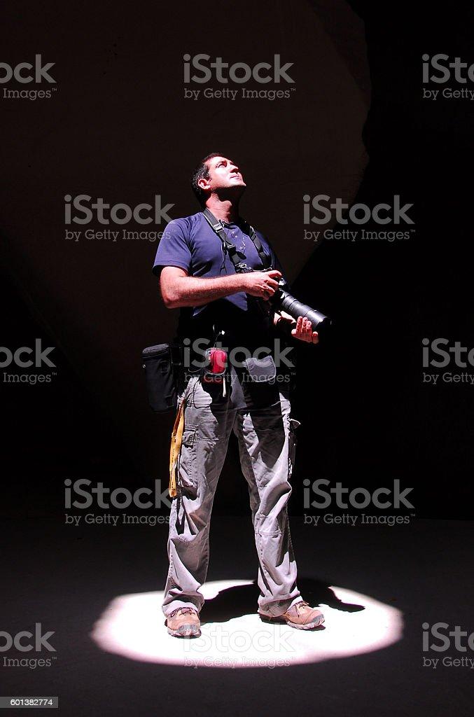 Concept Photo - Press TV Photojournalist at Work stock photo