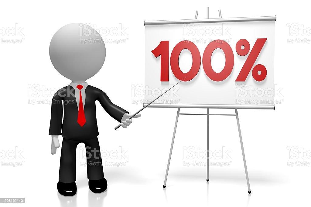3D 100% concept stock photo