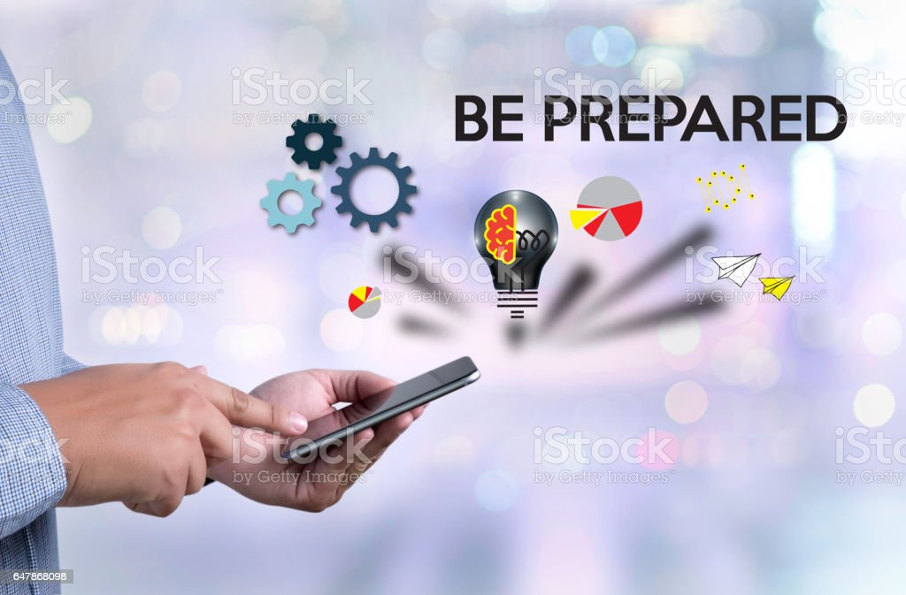 BE PREPARED concept , PREPARATION IS THE KEY  plan, prepare, perform stock photo
