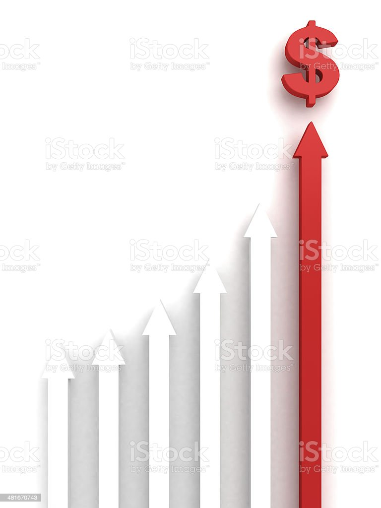 concept rising group arrows red top leader to dollar symbol stock photo