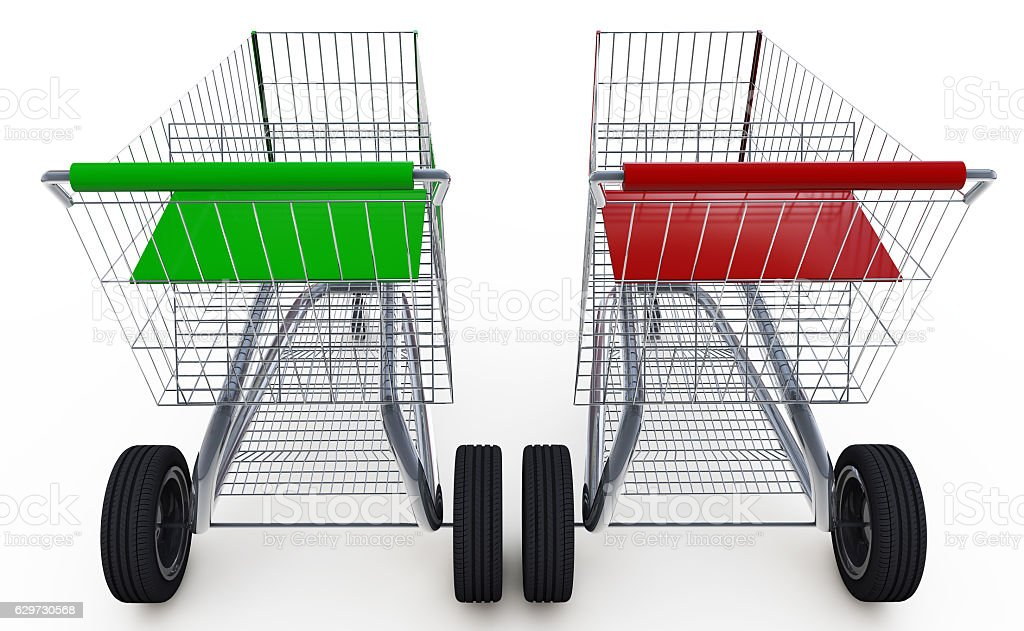 Concept. shopping cart with big car wheel isolated stock photo