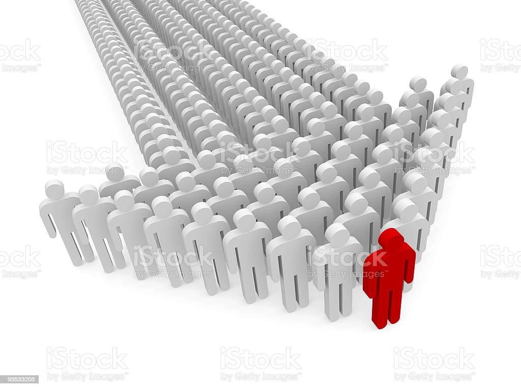 Concept showing leader of people at the front of an arrow royalty-free stock photo