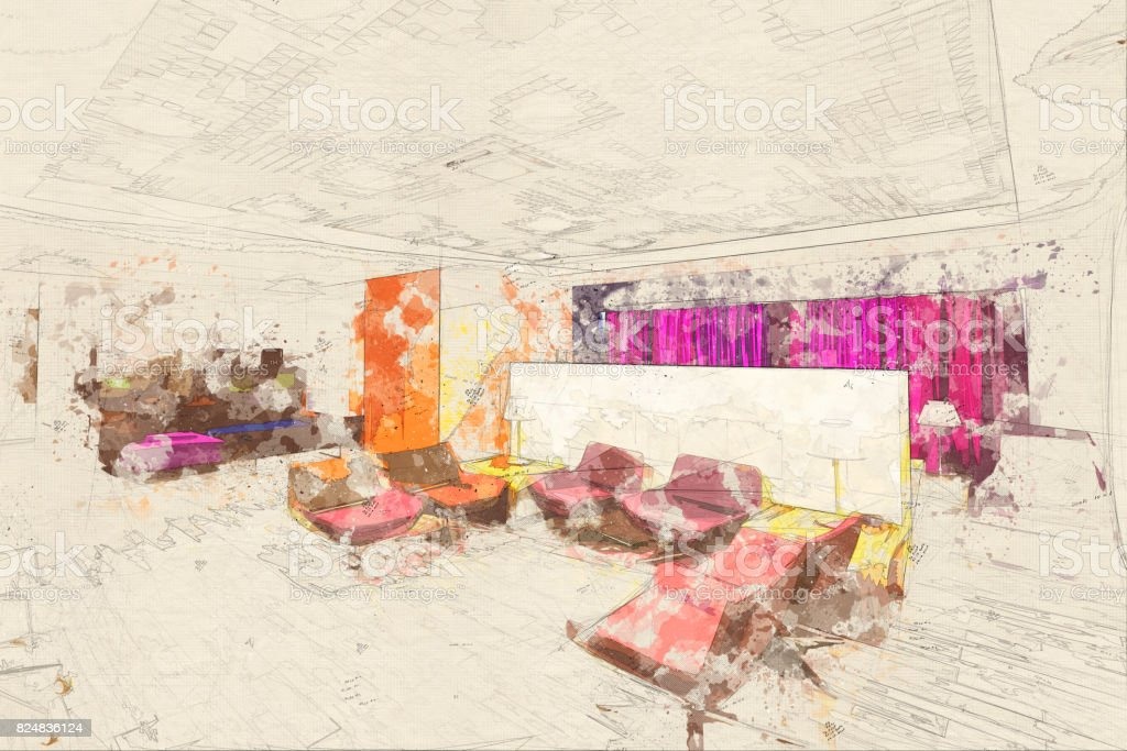Concept, sketch business lounge airport Vip lounge Waiting Room stock photo