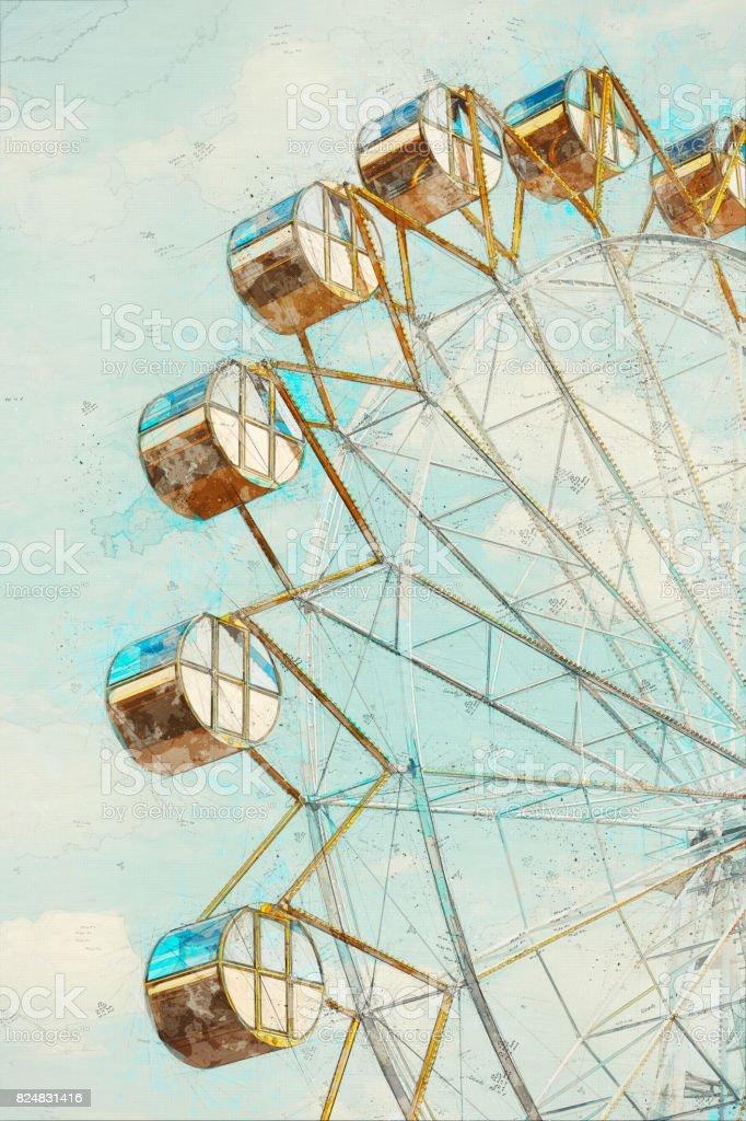 Concept, Sketch Ferris Wheel over blue Sky stock photo