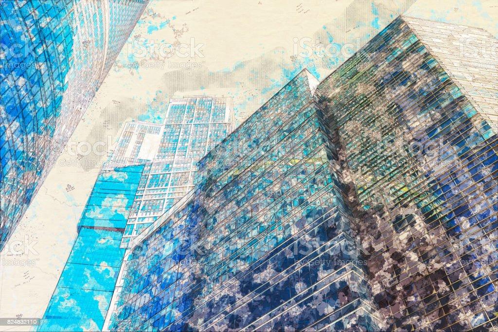 Concept, sketch skyscraper facade office buildings modern glass stock photo