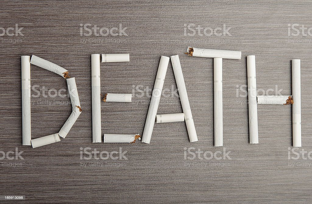 concept stop smoking. word 'death' of cigarettes royalty-free stock photo