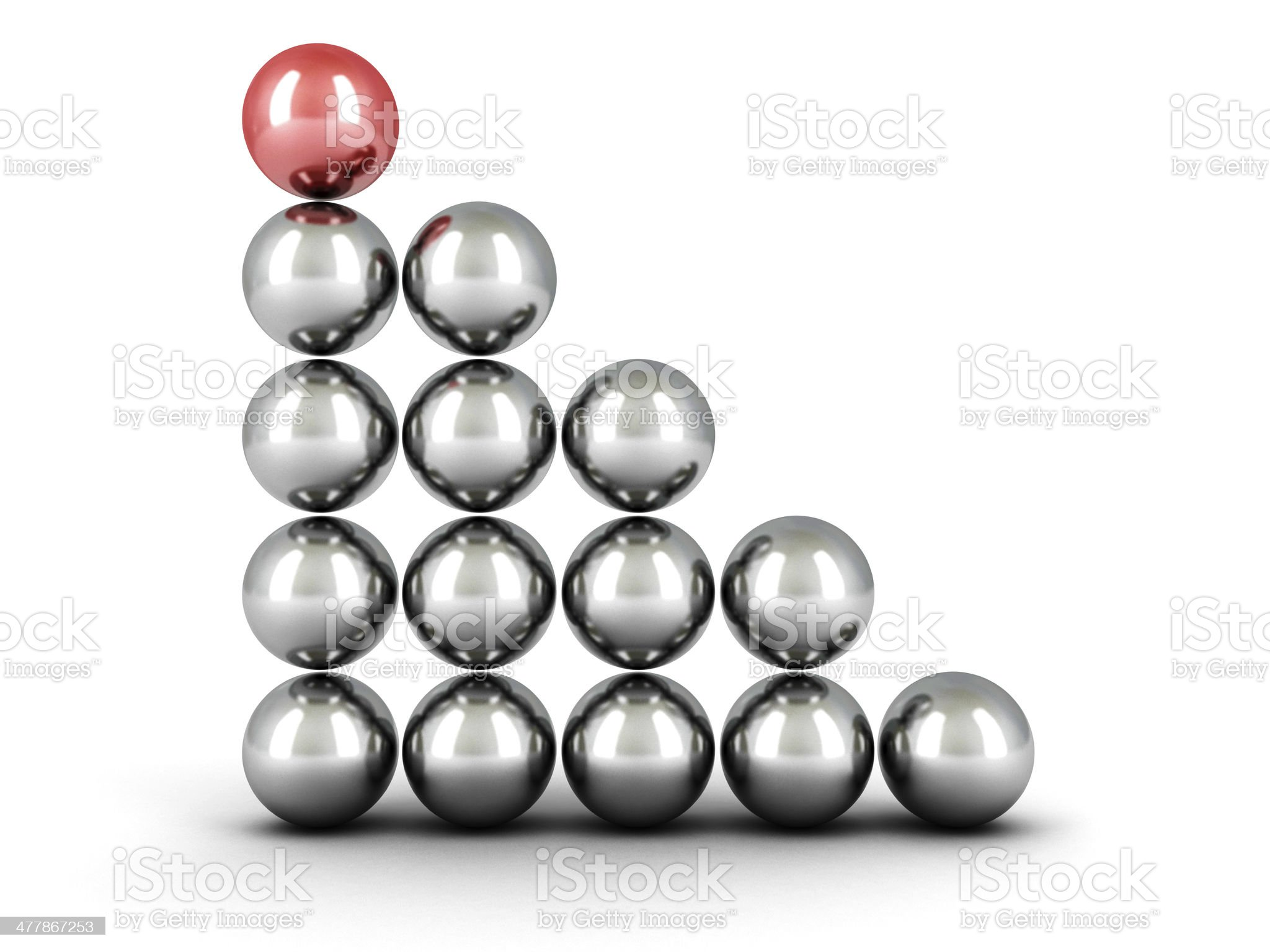concept success balls ladder chart with red top leader royalty-free stock photo