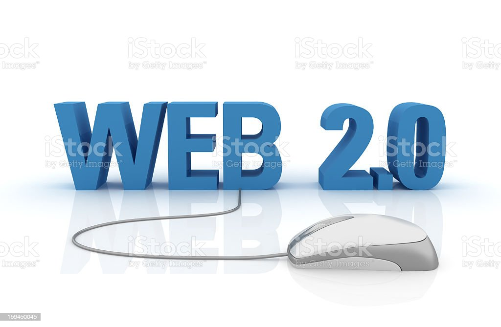 WEB 2.0 Concept Text with  Computer Mouse stock photo
