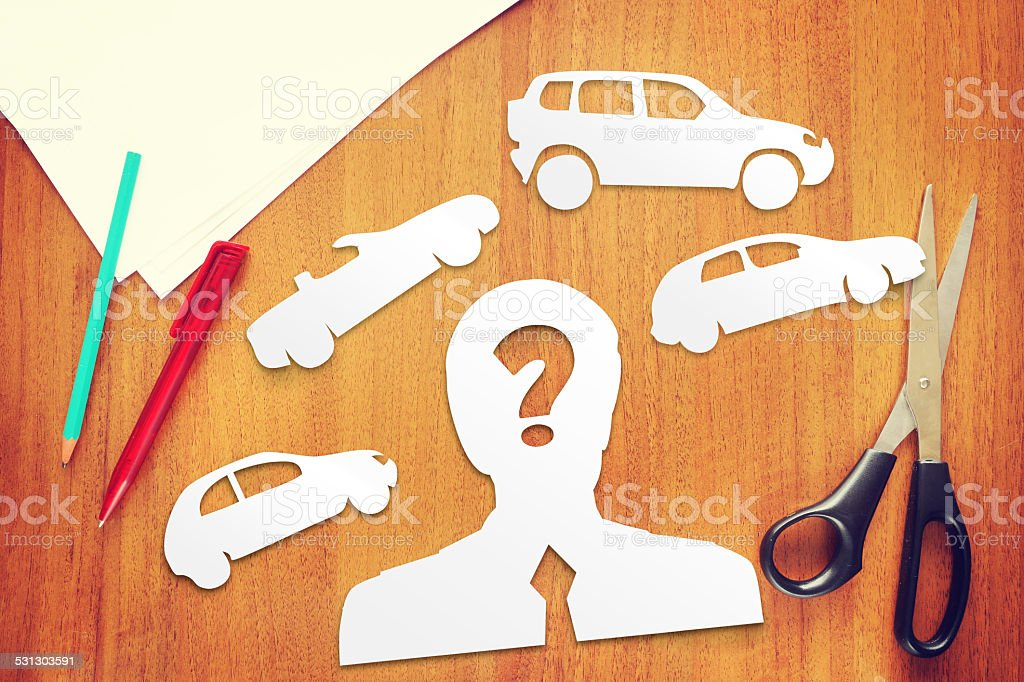 Concept the choice what kind of car to buy stock photo