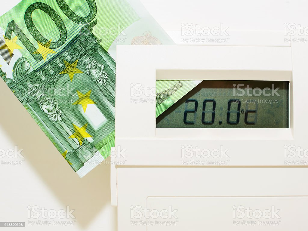 Concept thermostat and banknote for heating expensive stock photo
