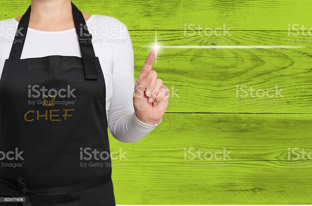 concept touchscreen is operated by chef background stock photo