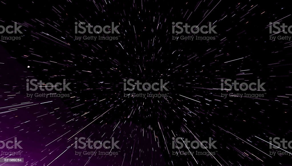 Concept traveling in space, warp stars abstract background, galaxy. 3d stock photo