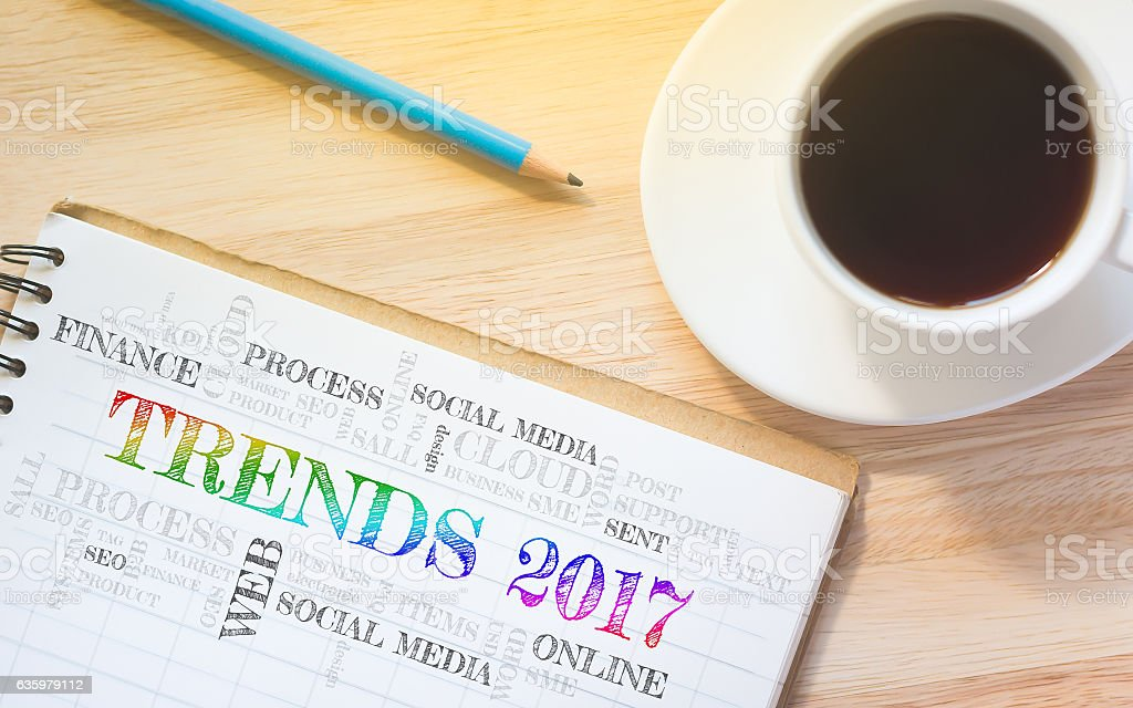 Concept TRENDS 2017 message on book stock photo