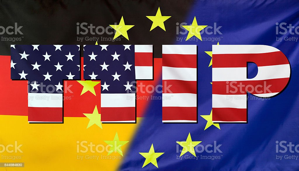 TTIP Concept USA, Germany and EU flags composition stock photo