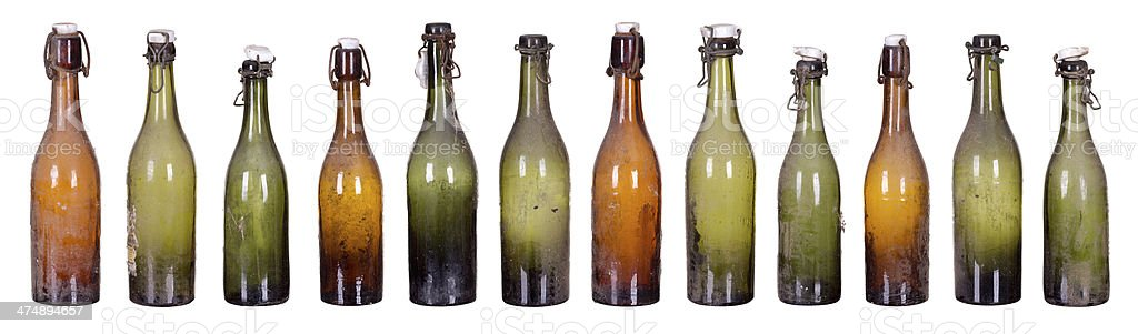 concept very old dusty bottles stock photo