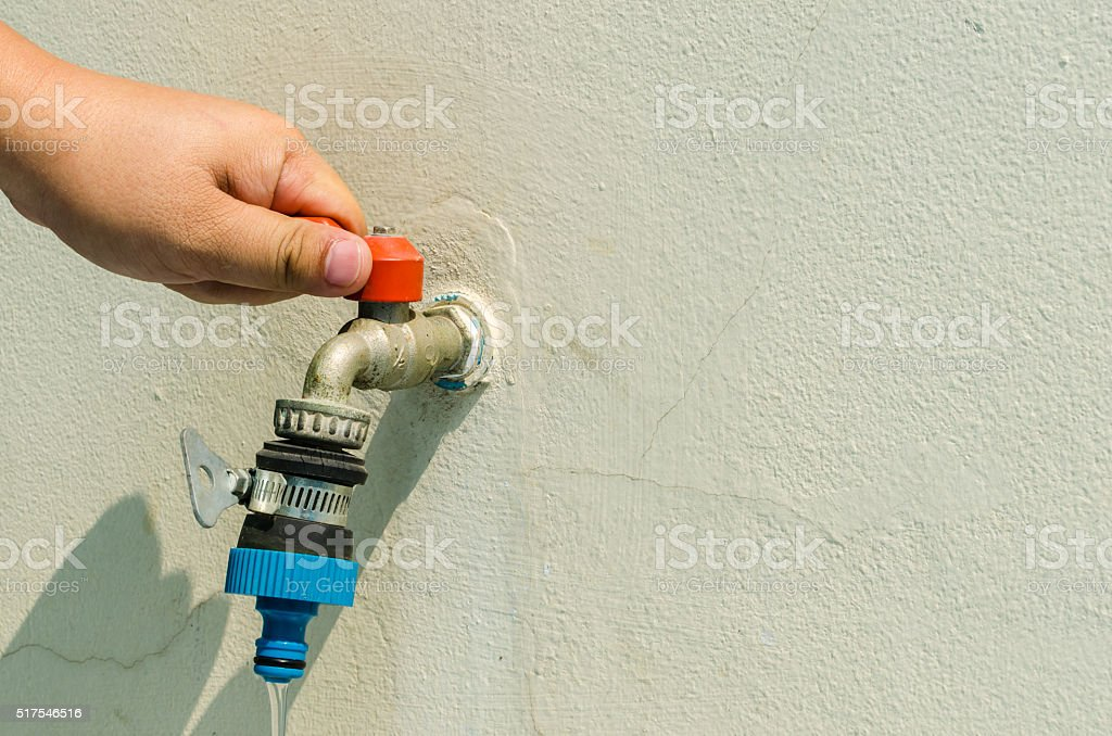 Concept Water Saving. Help preserve water stock photo