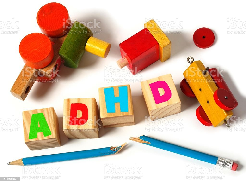 ADHD concept with toys stock photo