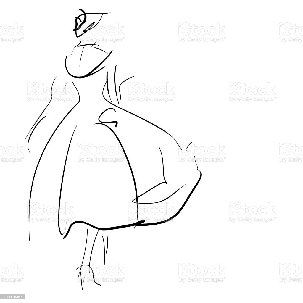Concept women in dress, fashion hand drawing sketch royalty-free stock photo