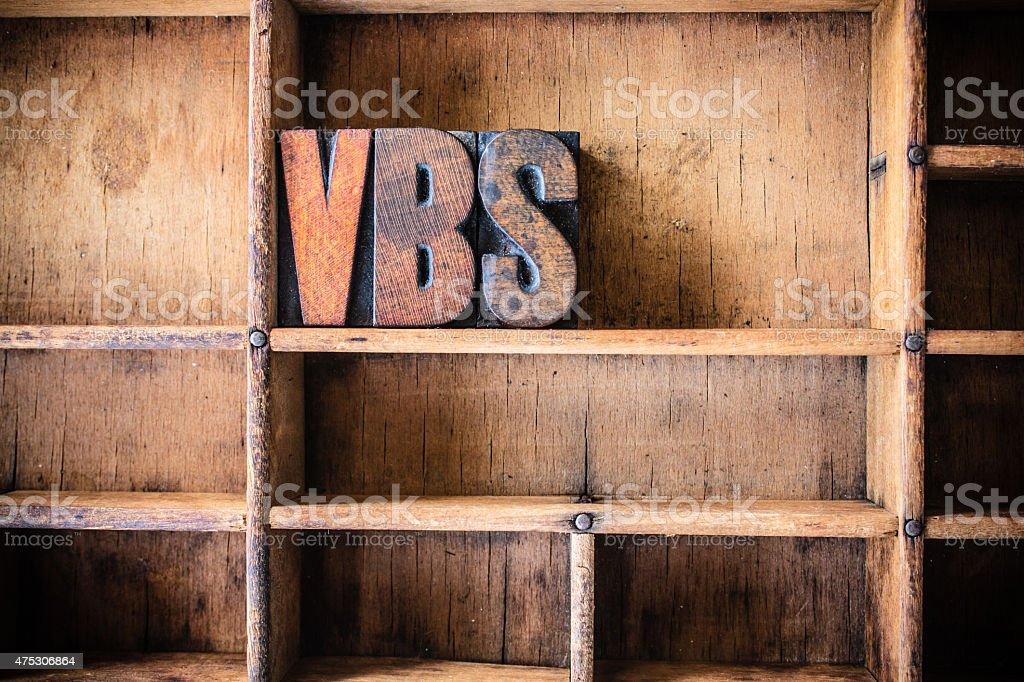 VBS Concept Wooden Letterpress Theme stock photo