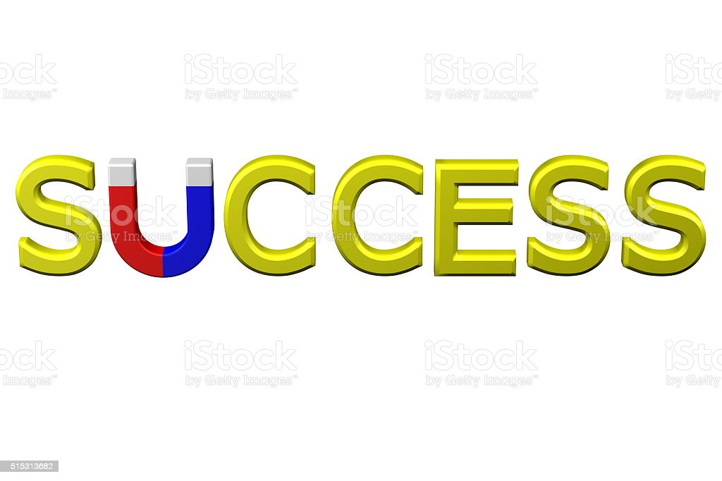 Concept: word success with U shaped magnet instead letter U stock photo