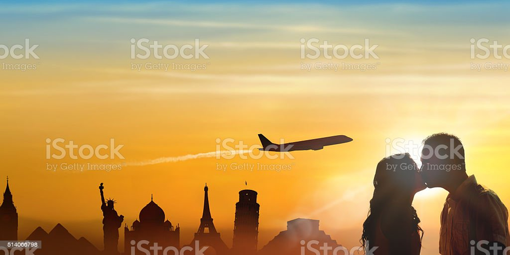 Concept world travels honeymoon stock photo