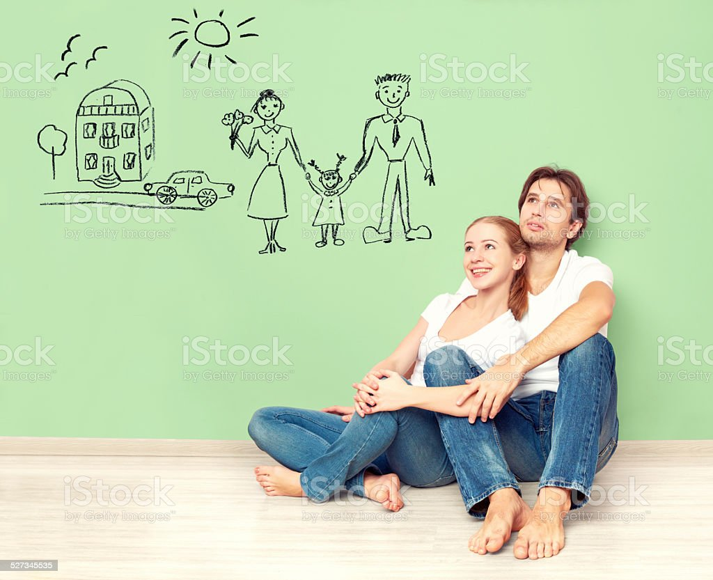 concept. young couple dreaming of new house, car, child stock photo