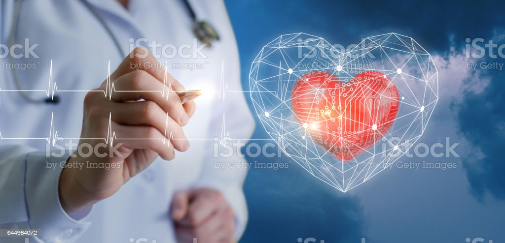 Concepts of modern technologies of diagnostics of the heart. stock photo