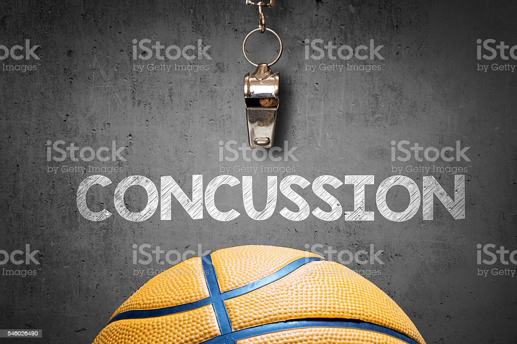 Concepts of sports concussion stock photo