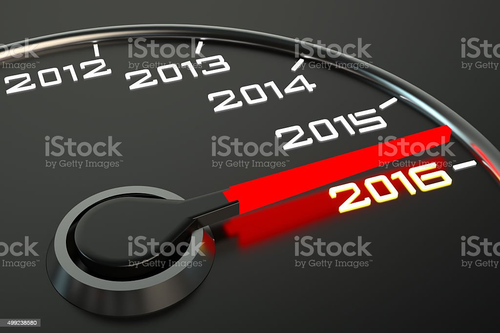 Conceptual 2016 year speedometer stock photo