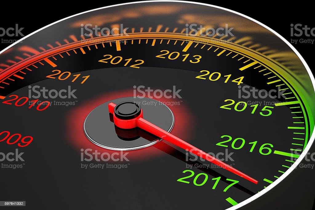 Conceptual 2017 New Year Speedometer. 3d Rendering stock photo