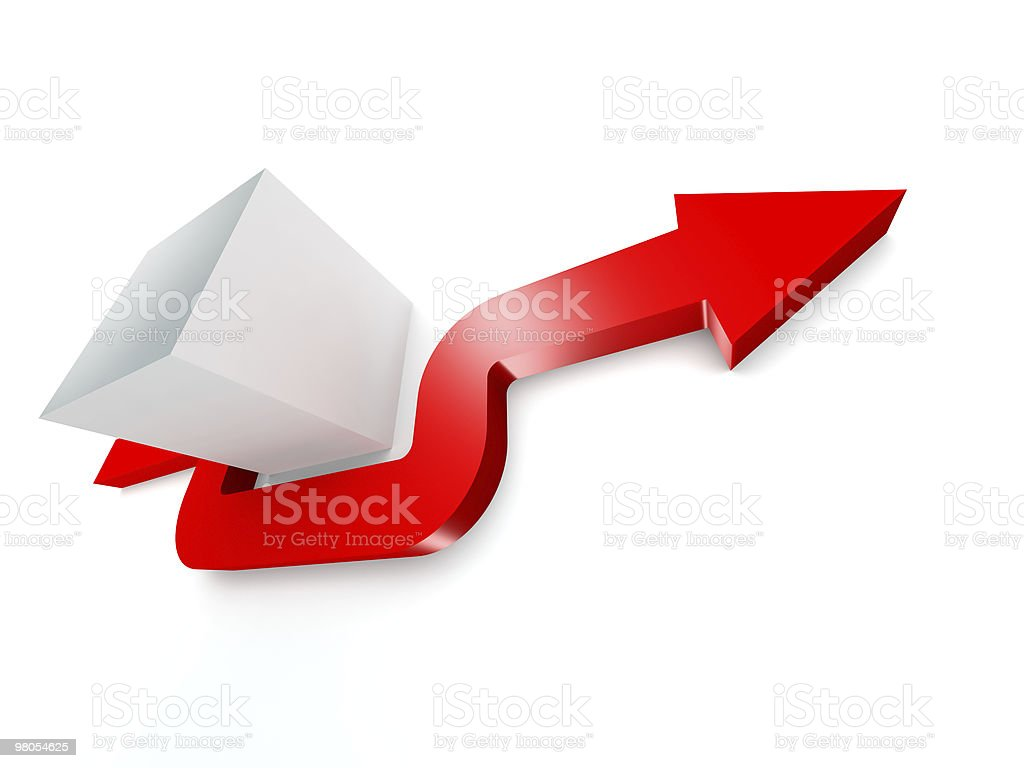 conceptual 3d rendered image of arrow stock photo