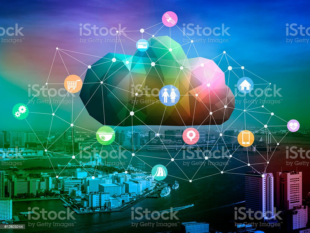 CPS(Cyber Physical System) conceptual abstract image visual stock photo