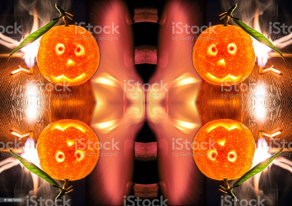 Conceptual background for Christmass from fire and mandarines stock photo