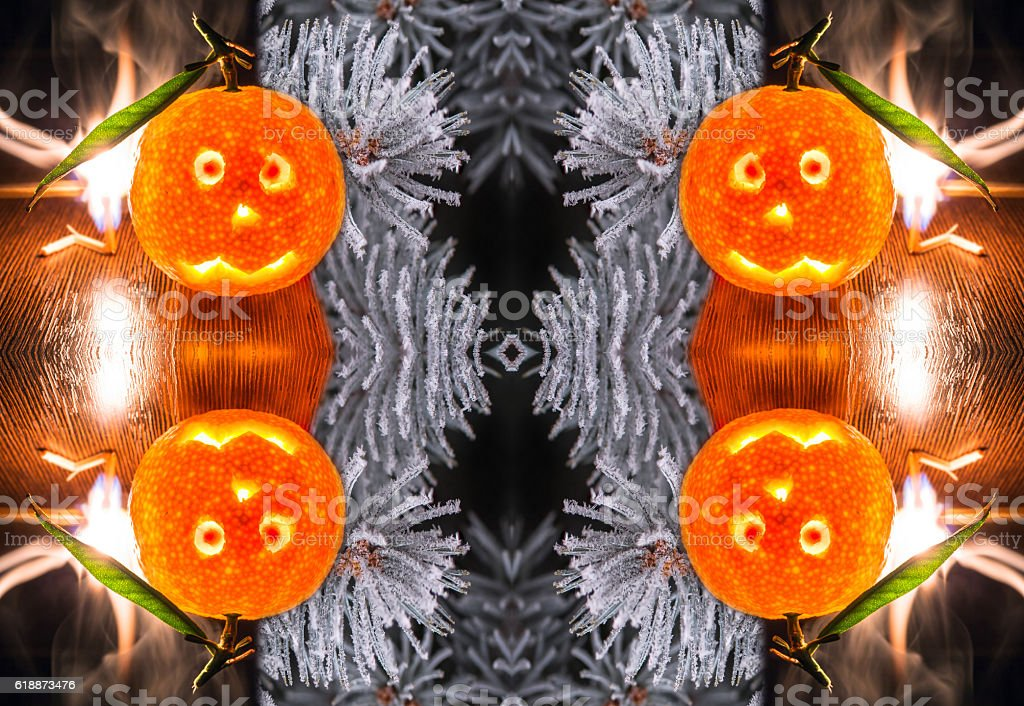 Conceptual background for Christmass from fire,  mandarines and ice stock photo