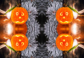 Conceptual background for Christmass from fire,  mandarines and ice